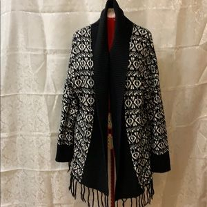 Black and white sweater with shawl collar